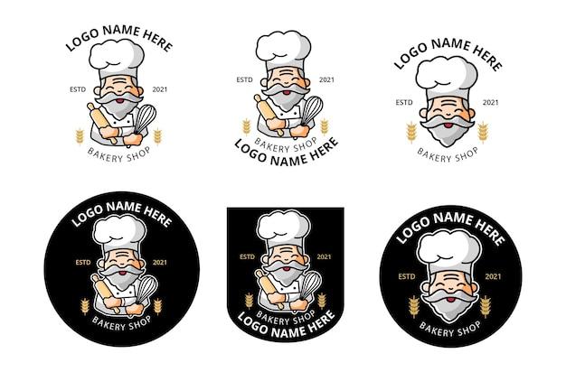 Logo bäckerei oder koch als maskottchen