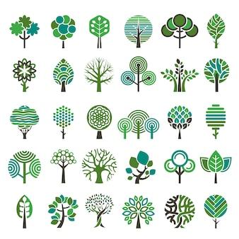 Logo-baum. stilisierte embleme oder abzeichenvektorsammlung der öko-naturholzbäume. stilisierter logo-baum der illustration, emblem-abzeichenbaum