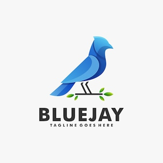 Logo bluejay farbverlauf bunter stil.