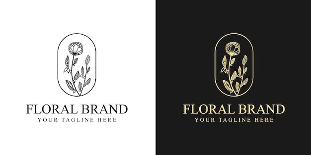 Logo blumenvorlage im trendigen linearen stil. pflanze und monogramm mit eleganten blättern.