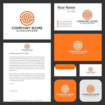 Logo-buchstabe o und visitenkarte