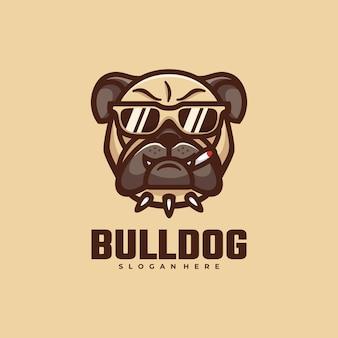 Logo bull dog einfacher maskottchen-stil.