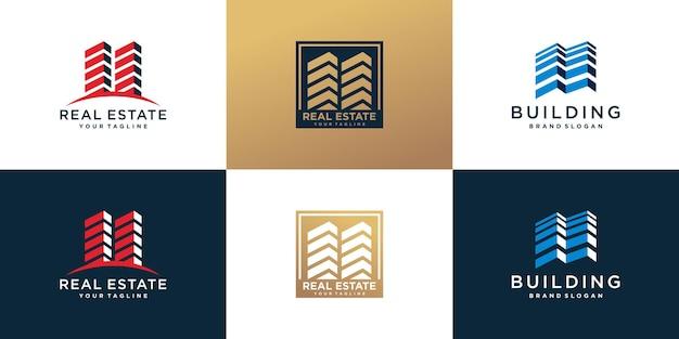 Logo-bundle mit kreativem abstraktem stil bauen premium-vektor