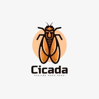 Logo cicada einfacher maskottchen-stil.