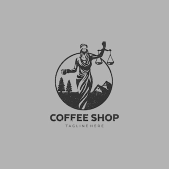 Logo coffee shop gerechtigkeits-dame lawyer