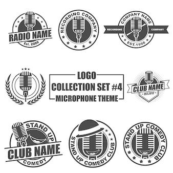 Logo collection set mit mikrofon-thema