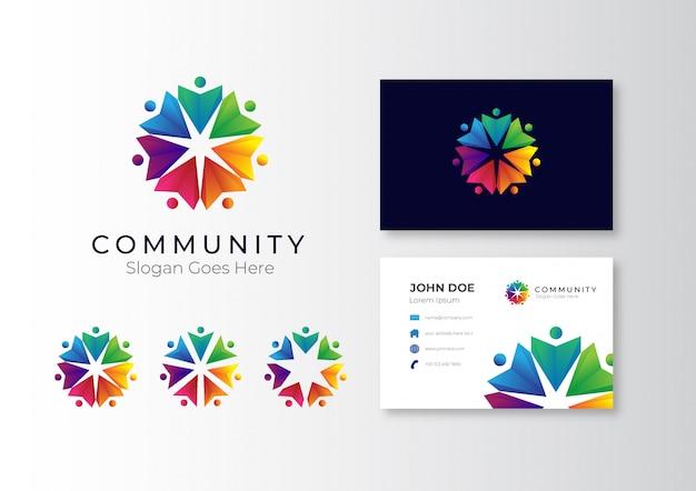 Logo-community mit visitenkarte
