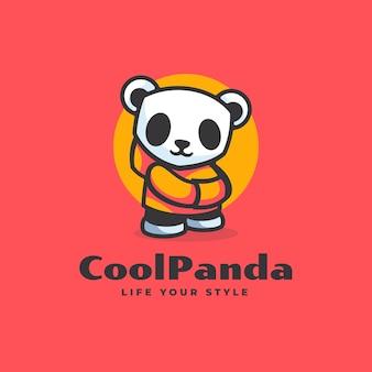 Logo cool panda einfacher maskottchen-stil.