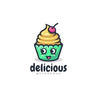 Logo cup cake einfacher maskottchen-stil.