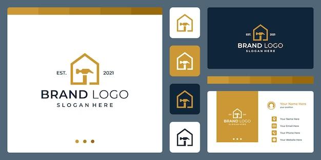 Logo, das hausformen und hammer kombiniert. visitenkarten.