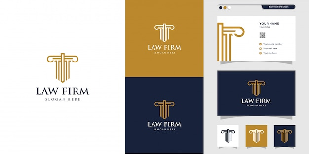 Logo der anwaltskanzlei und design der visitenkarte. gold, firma, recht, symbol gerechtigkeit, visitenkarte, premium