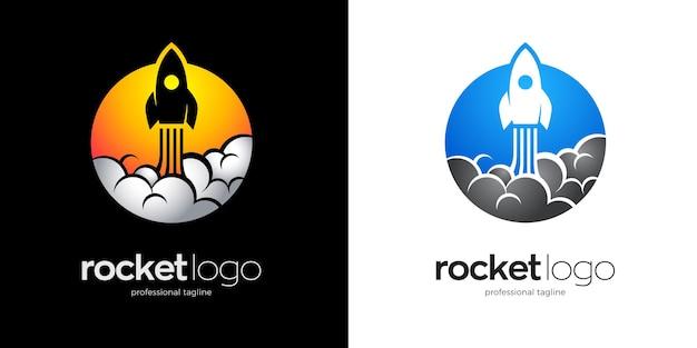 Logo der fliegenden rakete mit zwei farboptionen