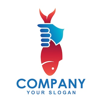 Logo der hand, die fische hält