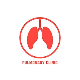 Logo der lungenklinik mit rotem umriss. konzept der hilfe, bronchien, luftröhre, brust, forschung, atem, intern. isoliert auf weißem hintergrund. flacher stil trend moderne lungen logo design vektorillustration