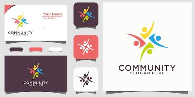 Logo der sozialen beziehung und visitenkarte vektor