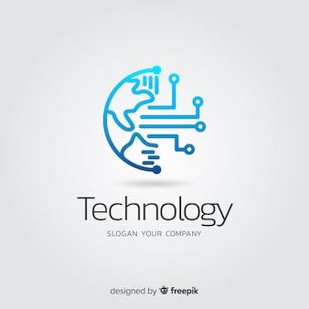 Logo des abstrakten technologieunternehmens mit farbverlauf