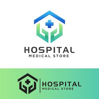 Logo des arztchirurgen, der medizinischen versorgung des krankenhauses oder des logo des medizinischen geschäftslogos