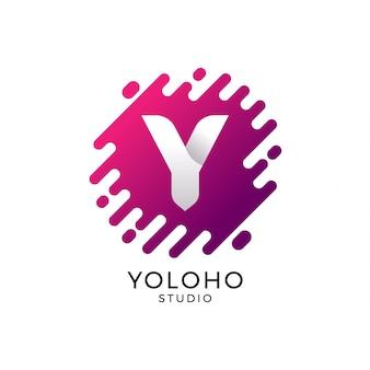 Logo des buchstaben y, abstrakter form-hintergrund