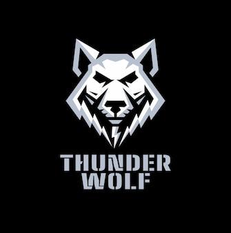 Logo des donnerwolfs im geometrischen entwurf.
