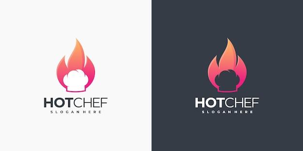 Logo des heißen kochs, logo des lebensmittels, logo des restaurants