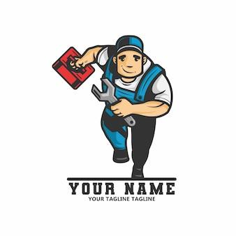 Logo des klempnermannes läuft und trägt einen schraubenschlüssel und eine schachtel ausrüstung in seiner hand