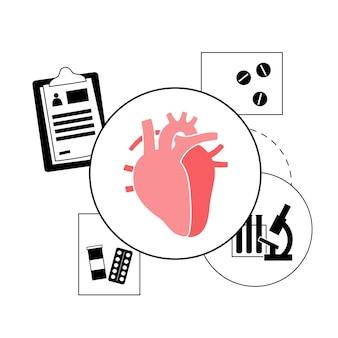 Logo des menschlichen herzens für die kardiologie-klinik. cardio- und gesundheitskonzept.