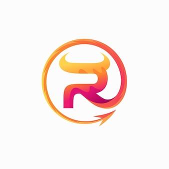 Logo des roten teufels mit buchstabe r-konzept