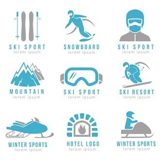 Logo des skigebiets und des berghotels mit skifahren und snowboarden. satz logo für hotel und skigebiete