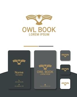 Logo-design-buch-eule oder flügelbuch-weisheit intelligentes symbol für bildungsschule