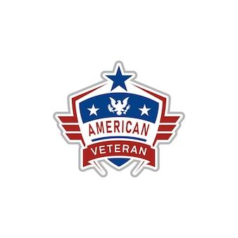 Logo-design der amerikanischen flaggen-emblem-flügel