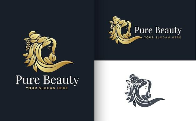 Logo-design der blumenschönheitsfrauen
