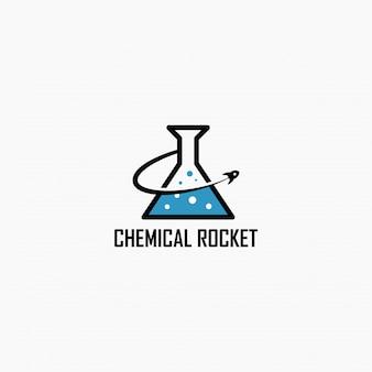 Logo-design der chemischen rakete. illustration. abstrakte chemische und raketenwebsymbole und -logo.