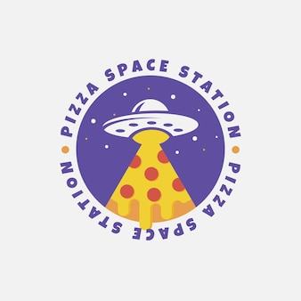 Logo-design der pizza-raumstation