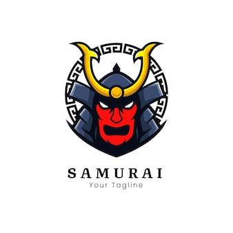 Logo-design der samurai-maske