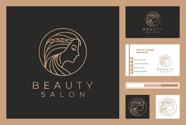 Logo-design der schönheitsfrau mit visitenkartenschablone.