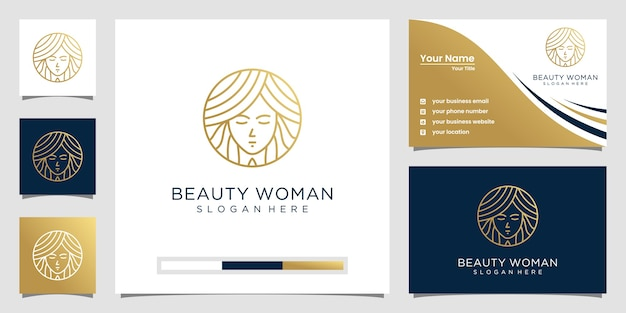 Logo-design der schönheitsfrauen mit linienkonzept.