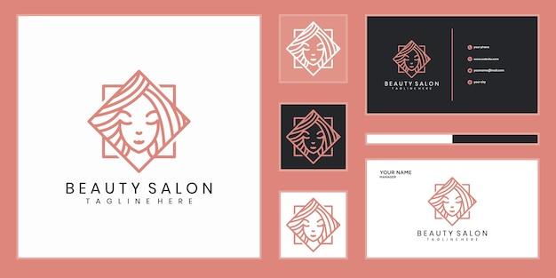 Logo-design der schönheitsfrauen mit linienkonzept