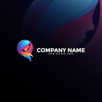 Logo-design der schönheitshaarfrau, moderner bunter logo-stil