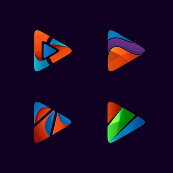 Logo-design der symbolsammlung spielen