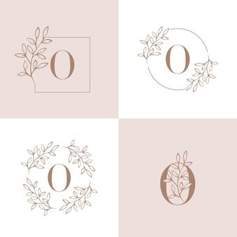 Logo-design des buchstaben o mit orchideenblattelement