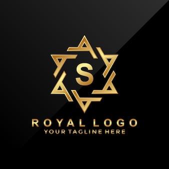 Logo-design des buchstaben s mit luxusverzierung