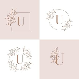 Logo-design des buchstaben u mit orchideenblattelement