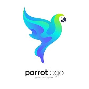 Logo-design des fliegenden papageis