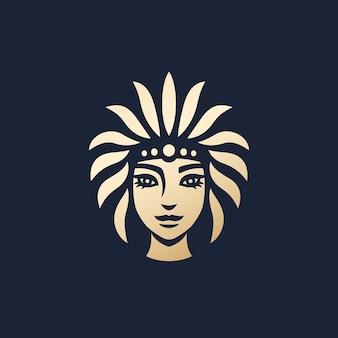 Logo-design des gebürtigen mädchens, stammesfrauenvektorkunst