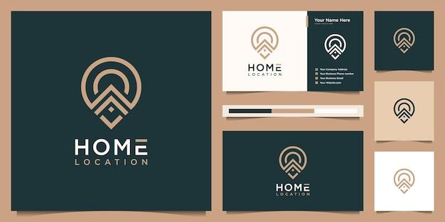 Logo-design des heimatstandorts mit visitenkarte