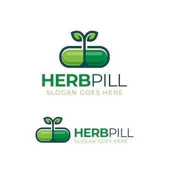 Logo-design des medikamentendesigns der kräuterkapselpillenblattmedizin