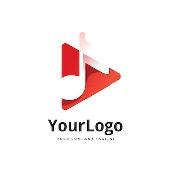 Logo-design für musikplayer mit farbverlauf premium-vektor