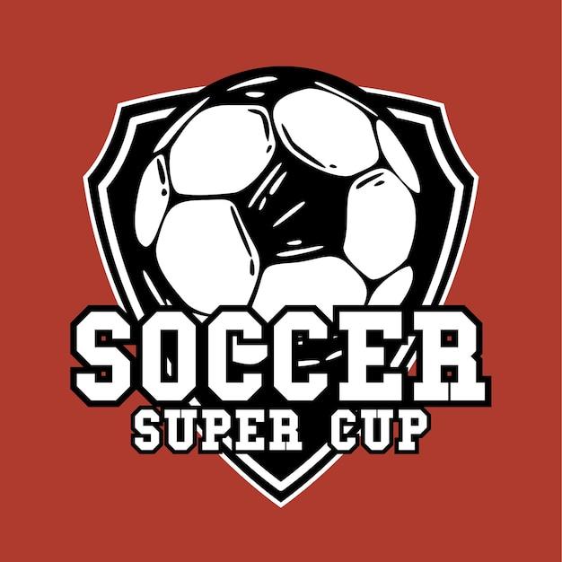 Logo-design-fußball-superpokal mit fußball-vintage-illustration