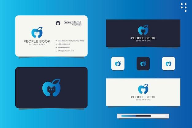 Logo-design glückliche menschen kinder lernen bildung bücher bibliotheksstudium
