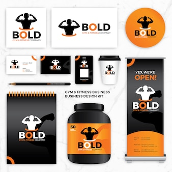 Logo design identity vorlagen für gym fitness marke